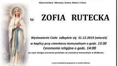 Zmarła Zofia Rutecka. Żyła 73 lata.