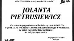 Zmarła Jolanta Pietrusiewicz. Żyła 62 lata.