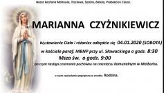 Zmarła Marianna Czyżnikiewicz. Żyła 89 lat.
