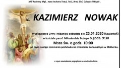 Zmarł Kazimierz Nowak. Żył 63 lata.