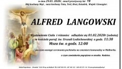 Zmarł Alfred Langowski. Żył 78 lat.