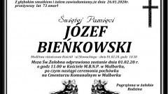 Zmarł Józef Bieńkowski. Żył 73 lata.