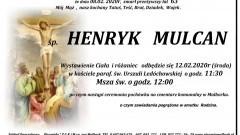 Zmarł Henryk Mulcan. Żył 63 lata.