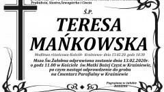Zmarła Teresa Mańkowska. Żyła 71 lat.