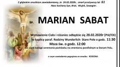 Zmarł Marian Sabat. Żył 61 lat.