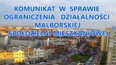 Komunikat w sprawie ograniczenia działalności Malborskiej Spółdzielni Mieszkaniowej