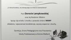 Dyrekcja, Grono Pedagogiczne oraz Pracownicy Szkoły Podstawowej w Gminie Malbork składają kondolencje