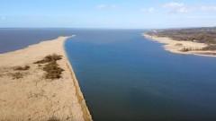 Rezerwat przyrody Zatoka Elbląska i Złota Wyspa z lotu ptaka.
