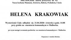 Zmarła Helena Krakowiak. Żyła 93 lata.