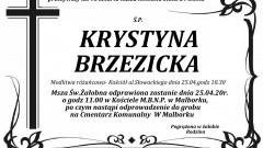 Zmarła Krystyna Brzezicka. Żyła 95 lat.