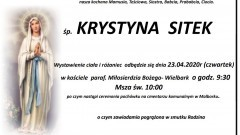 Zmarła Krystyna Sitek. Żyła 87 lat.