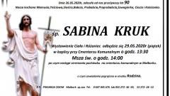 Zmarła Sabina Kruk. Żyła 90 lat.
