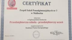 ZSP3 w Malborku z certyfikatem Przedsiębiorczej Szkoły.