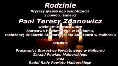 Pracownicy Starostwa Powiatowego w Malborku, Zarząd oraz Radni Rady Powiatu Malborskiego składają kondolencje.