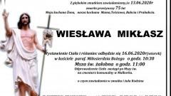 Zmarła Wiesława Mikłasz. Żyła 75 lat.