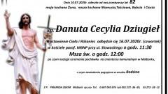 Zmarła Danuta Cecylia Dziugieł. Żyła 82 lata.