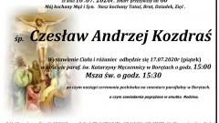 Zmarł Czesław Andrzej Kozdraś. Żył 60 lat.