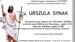 Zmarła Urszula Synak. Żyła 71 lat.
