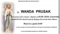 Zmarła Wanda Prusak. Żyła 76 lat.