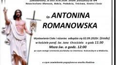 Zmarła Antonina Romanowska. Żyła 84 lata.