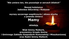 Wójt Gminy Malbork, pracownicy Urzędu Gminy i Gminnego Zakładu Gospodarki Komunalnej i Mieszkaniowej oraz Radni Gminy Malbork składają kondolencje.