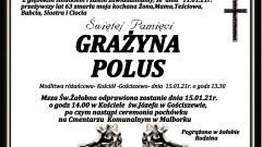 Zmarła Grażyna Polus. Żyła 63 lata.