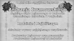 Kondolencje od Prokuratora Rejonowego oraz pracowników Prokuratury Rejonowej w Malborku
