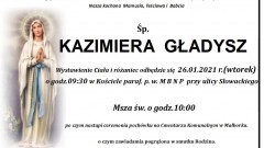 Zmarła Kazimiera Gładysz. Żyła 91 lat.