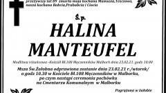 Zmarła Halina Manteufel. Żyła 89 lat.