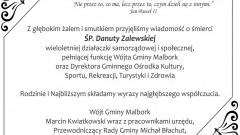 Kondolencje Wójta Gminy Malbork i pracowników urzędu, Przewodniczącego Rady Gminy i Radnych oraz społeczności gminnej.