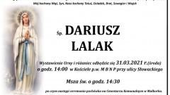 Zmarł Dariusz Lalak. Żył 59 lat.