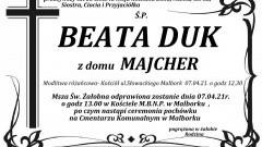 Zmarła Beata Duk. Żyła 53 lata.