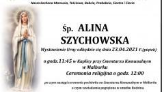 Zmarła Alina Szychowska. Żyła 75 lat.