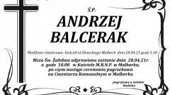 Zmarł Andrzej Balcerak. Żył 69 lat.