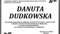 Zmarła Danuta Dudkowska. Żyła 84 lata.