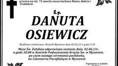 Zmarła Danuta Osiewicz. Żyła 75 lat.