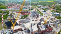 Malbork. Gigantyczny dźwig w centrum miasta. 60-milionowa inwestycja w cukrowni.
