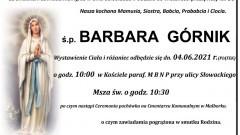 Zmarła Barbara Górnik. Żyła 86 lat.