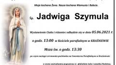 Zmarła Jadwiga Szymula. Żyła 81 lat.