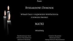 Kondolencje Starosty Malborskiego, Zarządu Powiatu, pracowników starostwa, Przewodniczącego Rady Powiatu Malborskiego oraz Radnych Powiatu.