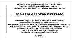 Podziękowanie za udział w ceremonii pogrzebowej śp. Tomasza Gardzielewskiego.