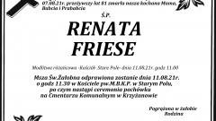 Zmarła Renata Friese. Żyła lat 81.