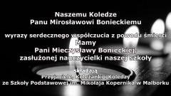Kondolencje przyjaciół i pracowników Szkoły Podstawowej im. Mikołaja Kopernika w Malborku.