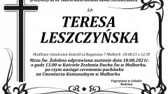 Zmarła Teresa Leszczyńska. Żyła 64 lata.
