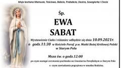 Zmarła Ewa Sabat. Żyła 87 lat.