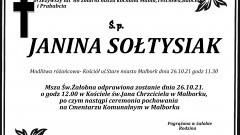 Zmarła Janina Sołtysiak. Żyła 86 lat.