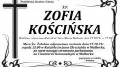 Zmarła Zofia Kościńska. Żyła 79 lat.