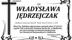 Zmarła Władysława Jędrzejczak. Żyła 86 lat.