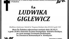 Zmarła Ludwika Giglewicz. Żyła 91 lat.