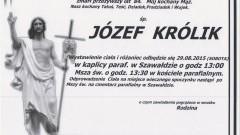 ZMARŁ JÓZEF KRÓLIK. ŻYŁ 84 LATA